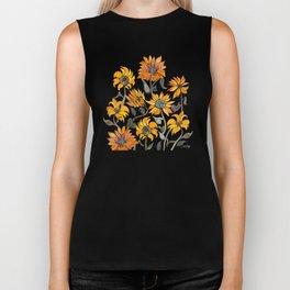 Sunflower Watercolor – Yellow & Black Palette Biker Tank
