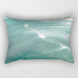 California Surf // Coastal Spring Waves Teal Blue and Green Ocean Huntington Beach Views Rectangular Pillow