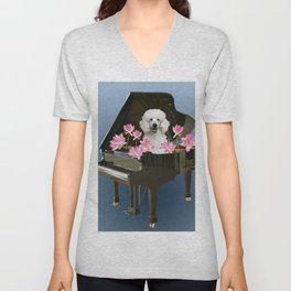 Piano with Poodle Dog and Lotus Flower Unisex V-Neck