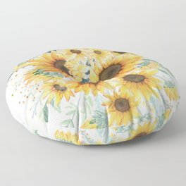 Loose Watercolor Sunflowers Floor Pillow