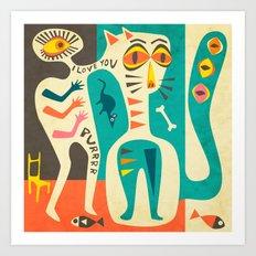 A Man who Loves his Cat Art Print