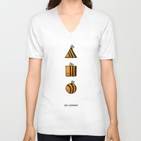 bee V-neck T-shirts featuring BEE DIFFERENT by Huebucket