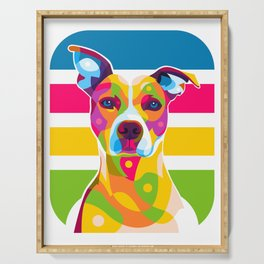 Colorful Dog Face Serving Tray