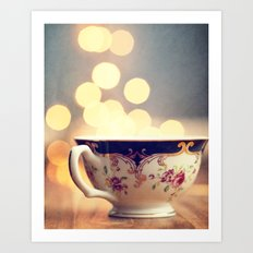 Blue and Gold Steaming Cup Art Print