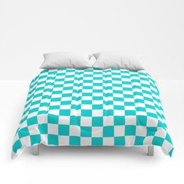 White and Cyan Checkerboard Comforters