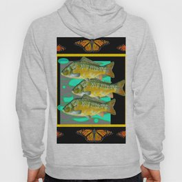 MODERN  MONARCH BUTTERFLIES FISH BLACK  AQUATIC  COLLAGE Hoody