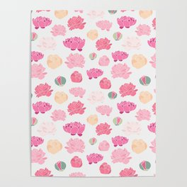 Mauve pink green orange hand painted peonies Poster