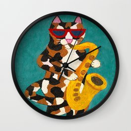 Calico Cat Saxophone Player Wall Clock