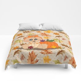 Fall Pumpkin Girl Comforters