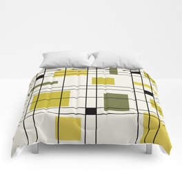 1950's Abstract Art Chartreuse Comforters