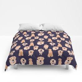 Golden Retrievers on Navy Comforters