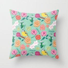 Joyful colourful floral pattern with bird Throw Pillow