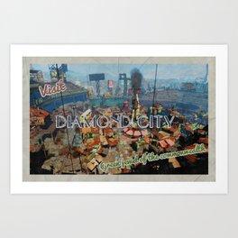 "Vintage Travel Diamond City ""postcard"" Art Print"