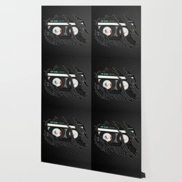 Retro classic vintage Black cassette tape Wallpaper