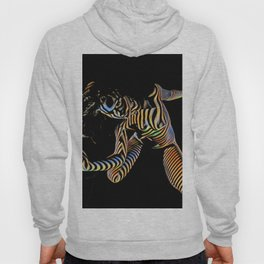 9911s-JPC Abstract Color Stripe New Art Nude Woman Hoody