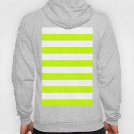 Horizontal Stripes - White and Fluorescent Yellow Hoody