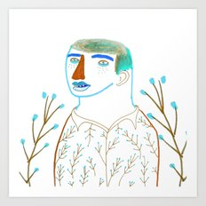 Man and plants. Art Print