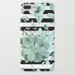 Succulents in the Garden Teal Blue Green Gradient with Black Stripes iPhone Case