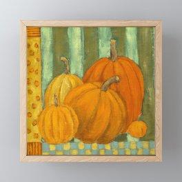 Five Pumpkins Framed Mini Art Print