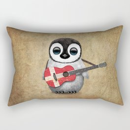 Baby Penguin Playing Danish Flag Acoustic Guitar Rectangular Pillow