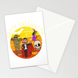 "Great Halloween Shirt Costume For November October ""Happy Halloween"" T-shirt Design Vampire Mummy Stationery Cards"