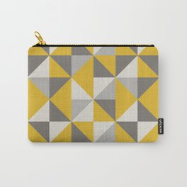 Retro Triangle Pattern in Yellow and Grey Carry-All Pouch