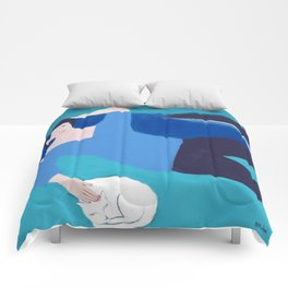 Lady with White Cat Comforters