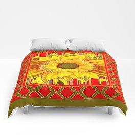 AVOCADO COLOR RED YELLOW SUNFLOWER ART Comforters