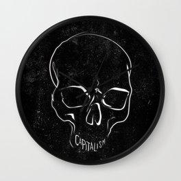 Anti Capitalism Black Skull Political Art Print Wall Clock