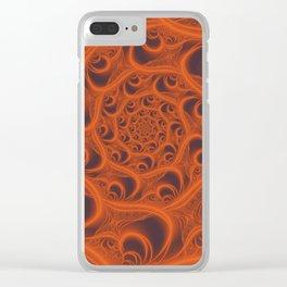 Fractal Web in Halloween Orange Clear iPhone Case