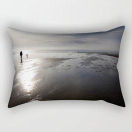 Dog walking on Caswell beach, Gower, Swansea Rectangular Pillow