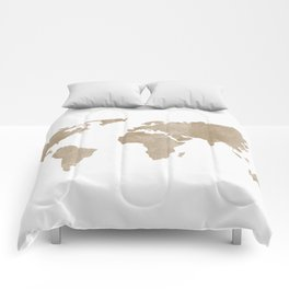 World Map - Beige Watercolor Minimal on White Comforters