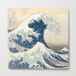 The Classic Japanese Great Wave off Kanagawa Print by Hokusai Metal Print