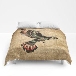 Red and Green Haida Spirit Flying Bird Comforters