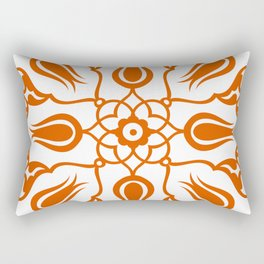 Orange Turkish Traditional Floral Tile Art Rectangular Pillow