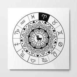 Aries  TShirt Zodiac Astrology Shirt Horoscope Gift Idea Metal Print