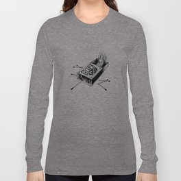 Combustible Thumb Tee - clean black ink for light T-shirts Long Sleeve T-shirt