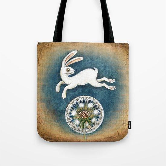 Rabbit with dandelion Tote Bag
