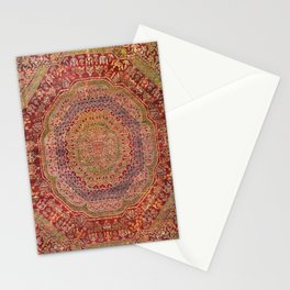 Bohemian Medallion III // 15th Century Old Distressed Red Green Purple Lavender Ornate Rug Pattern Stationery Cards