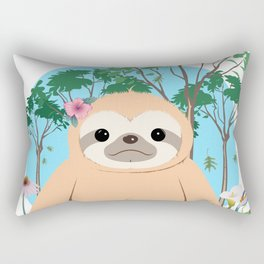 Cute Brown three toed Sloth Rectangular Pillow