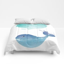 Blue Whale Love - When you are happy I am happy - Happy Valentines Day Comforters