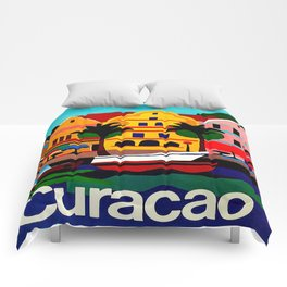 Curacao Vintage Travel Poster Comforters