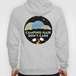 Camping Hair Don't Care Night Nature Outdoor Tent Hoody