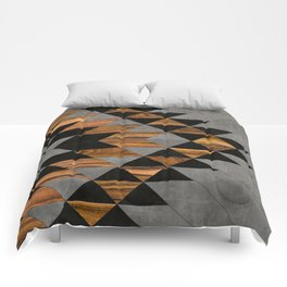 Urban Tribal Pattern No.10 - Aztec - Concrete and Wood Comforters