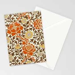 Jacobean Floral Wallpaper, Orange Brown & Mustard Gold Stationery Cards