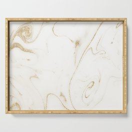 Elegant gold and white marble image Serving Tray