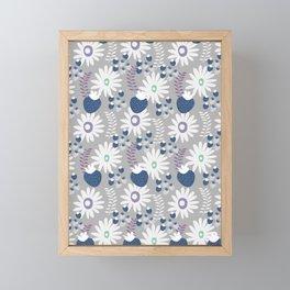 Blue floral strawberries Framed Mini Art Print