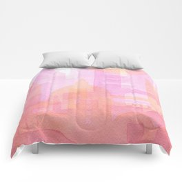 Pink and golden city watercolor Comforters