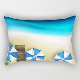Couple of umbrellas on the beach, graphic art Rectangular Pillow