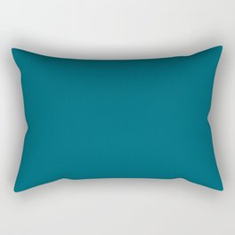 Sherwin Williams Trending Colors of 2019 Oceanside (Dark Aqua Blue) SW 6496 Solid Color Rectangular Pillow